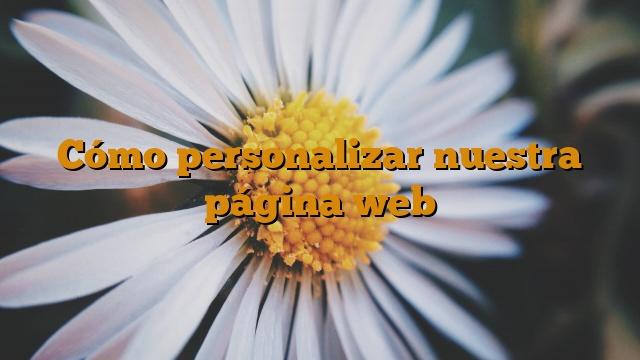 Cómo personalizar nuestra página web
